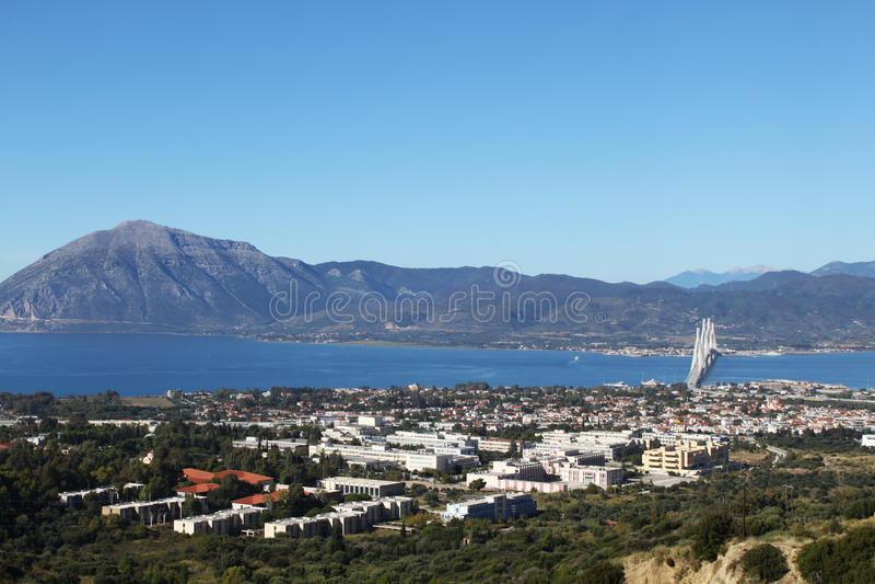 Patras University and Rio-Antirrio bridge. General view of Patras University and Rio-Antirrio bridge stock images
