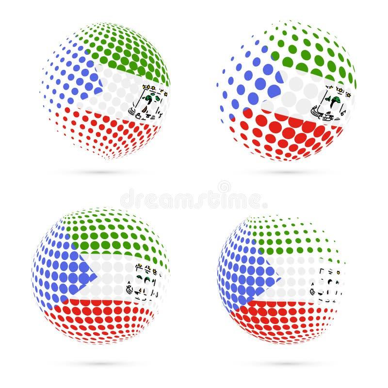 Patriótico determinado de la bandera de semitono de la Guinea Ecuatorial stock de ilustración