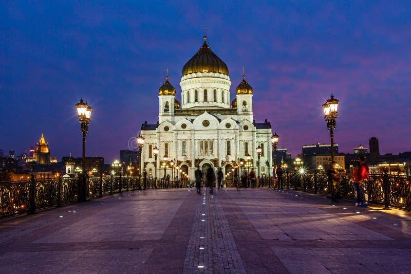 Patriarch-Brücke und Kathedrale von Christus der Retter stockbild