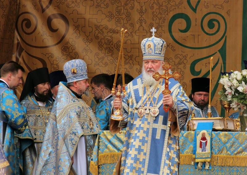 Patriark av Moscow och all Ryssland Kirill celebrat arkivfoto