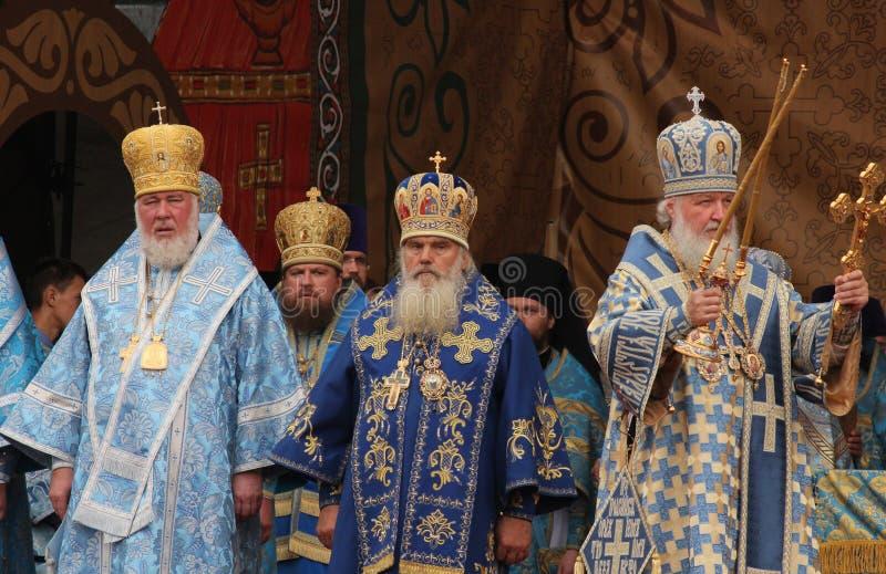Patriark av Moscow och all Ryssland Kirill celebrat fotografering för bildbyråer