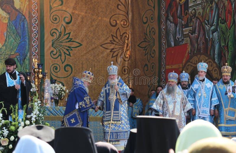 Patriark av Moscow och all Ryssland Kirill celebrat arkivfoton