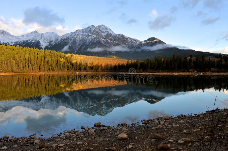 Patricia Lake in the morning royalty free stock image