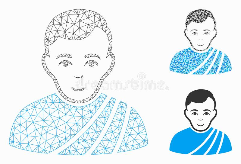 Patrician Citizen Vector Mesh Carcass Model and Triangle Mosaic Icon. Mesh patrician citizen model with triangle mosaic icon. Wire frame polygonal mesh of royalty free illustration
