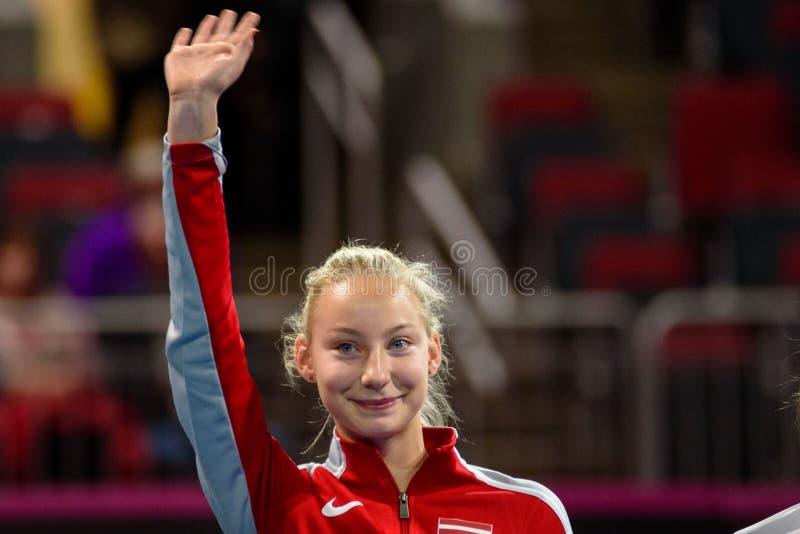 Patricija Spaka, durante gioco rotondo del gruppo II del mondo di FEDCUP BNP Paribas il primo immagine stock