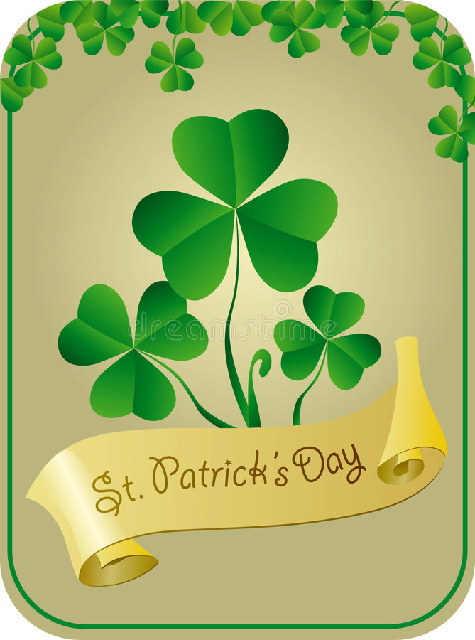 Patrick card with shamrock stock image