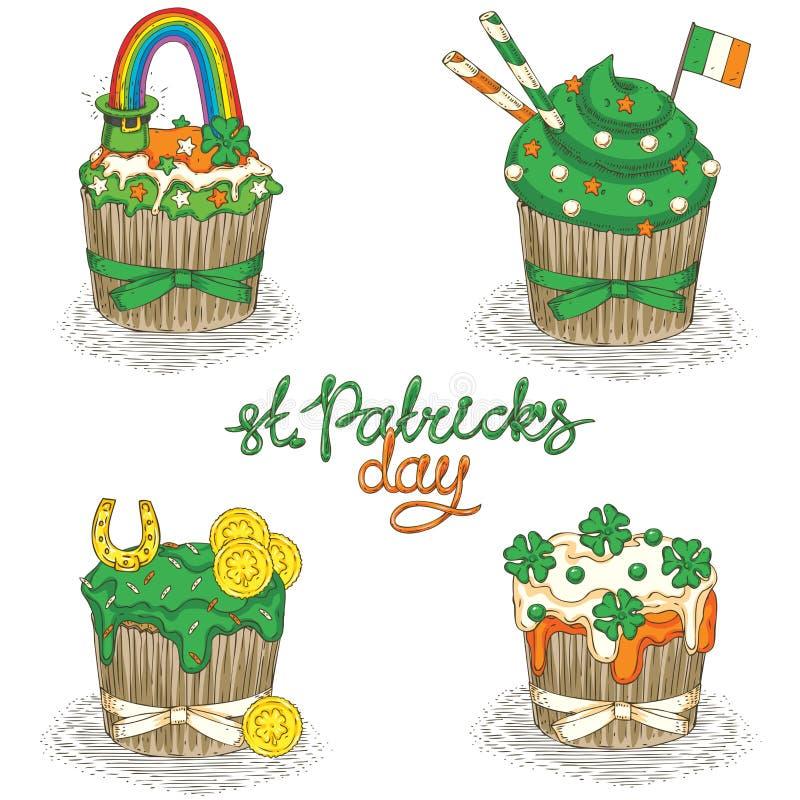 Patrick Day Cupcakes stock de ilustración