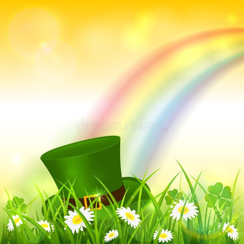 Patrick Day Rainbow no fundo amarelo da natureza com chapéu do duende ilustração stock