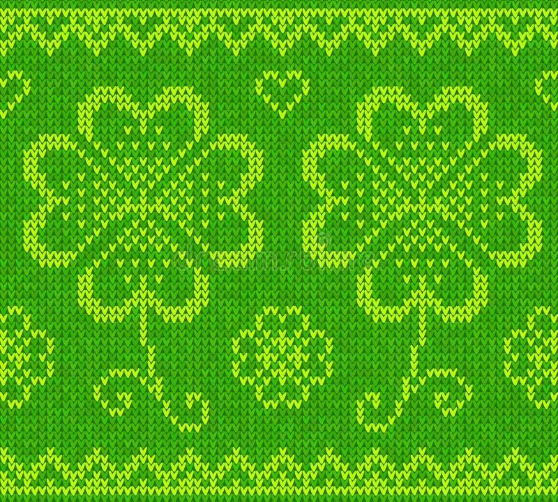 Patrick dnia zieleni trykotowy pulower z koniczyną ilustracji