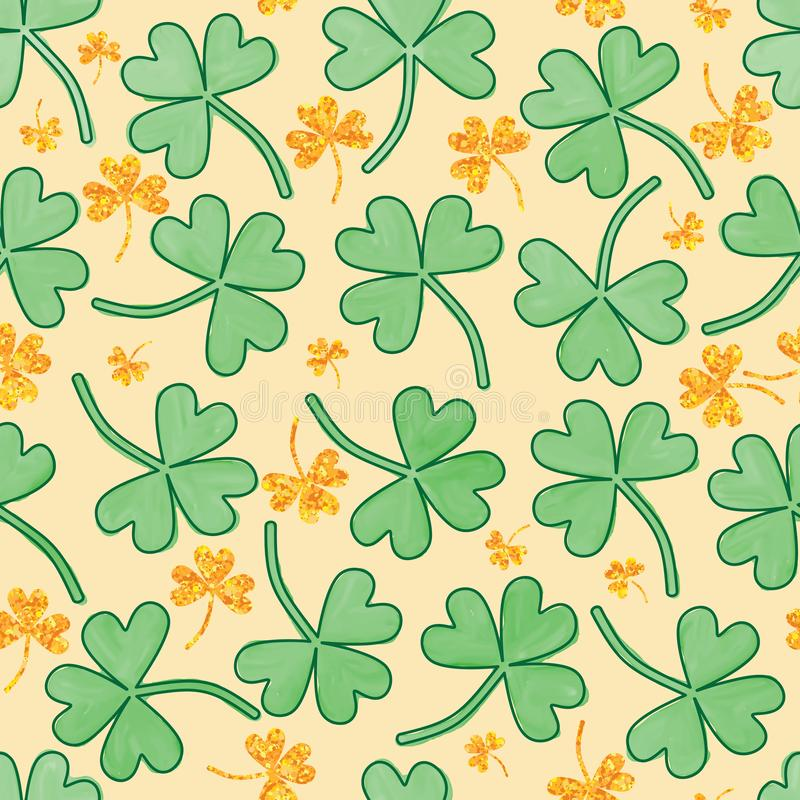 Patrick love leaf watercolor gold glitter seamless pattern. This illustration is design St. Patrick love leaf with watercolor and decoration gold glitter in stock illustration