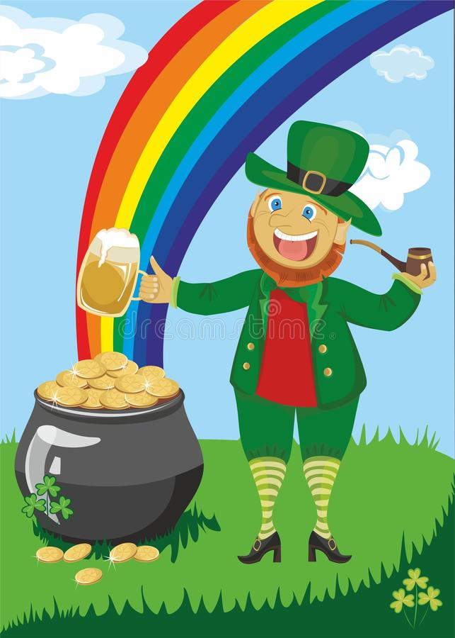 Patrick's day. Leprechaun with a pipe and beer against a rainbow and pot of gold royalty free illustration