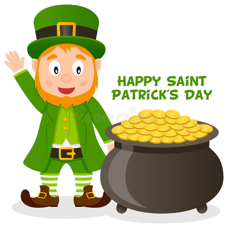 Patrick S Day Pot Of Gold And Leprechaun Stock Vector ...