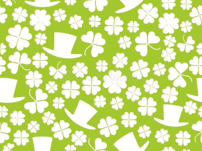 Patrick`s Day, seamless pattern with green clover leaves and leprechaun hat. For banner and greeting card. Typography design. Vector illustration vector illustration