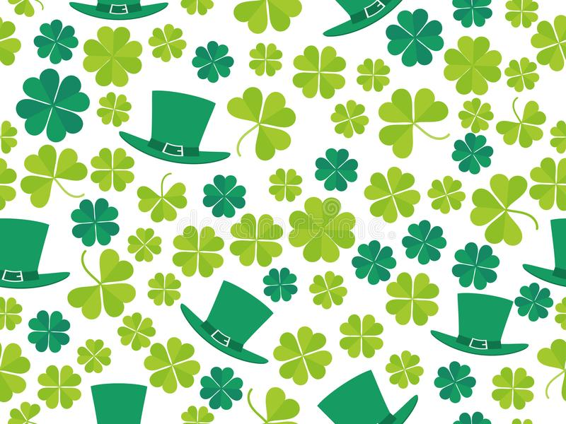 Patrick`s Day, seamless pattern with green clover leaves and leprechaun hat. For banner and greeting card. Typography design. Vector illustration stock illustration