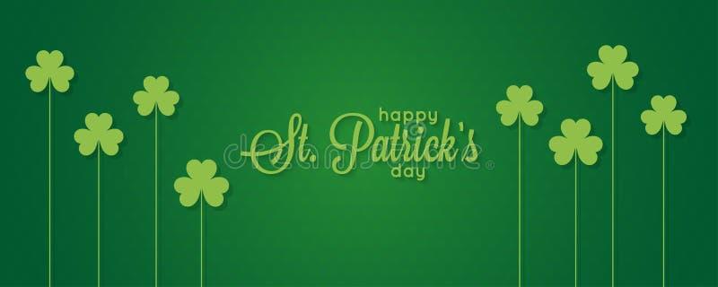 Patricks dagbaner St Patrick tappningbokstäver på grön bakgrund royaltyfri illustrationer