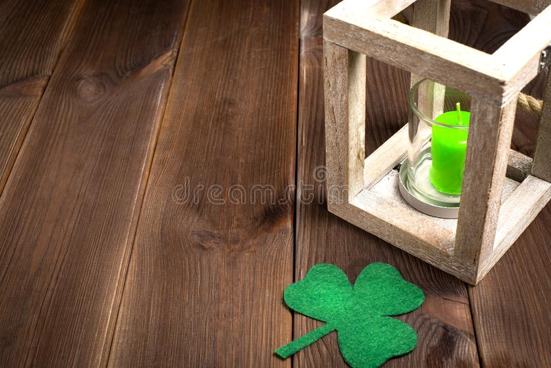 Patricks day holiday symbol. Space for text. stock photos