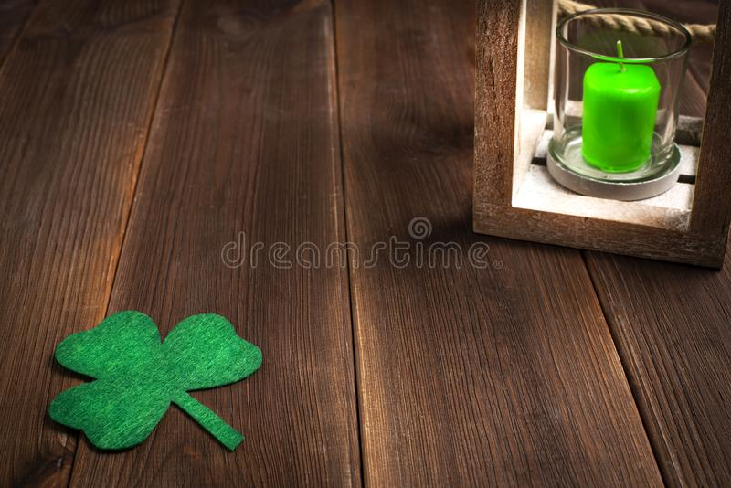 Patricks day holiday symbol. Space for text. stock photo