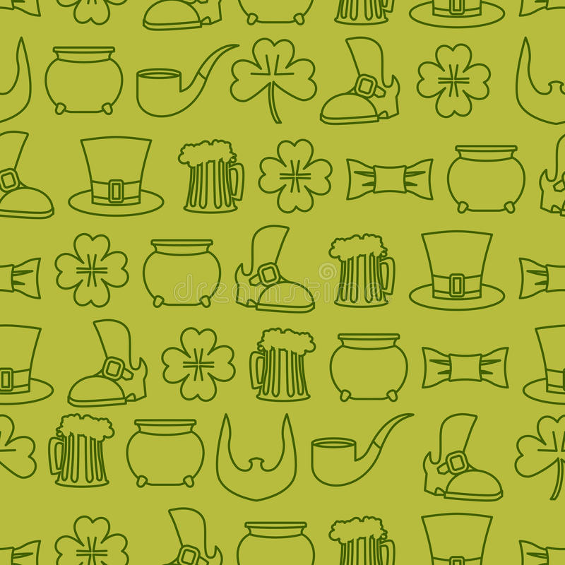 Patricks day seamless background. pattern of an old shoe and mug vector illustration