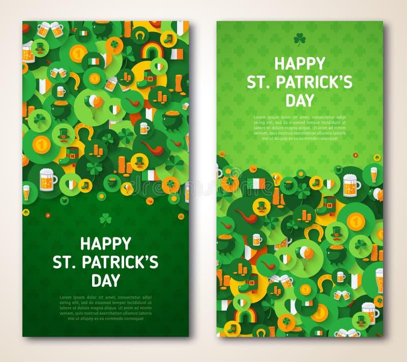 Patricks dnia kartka z pozdrowieniami z okrąg ikonami ilustracji