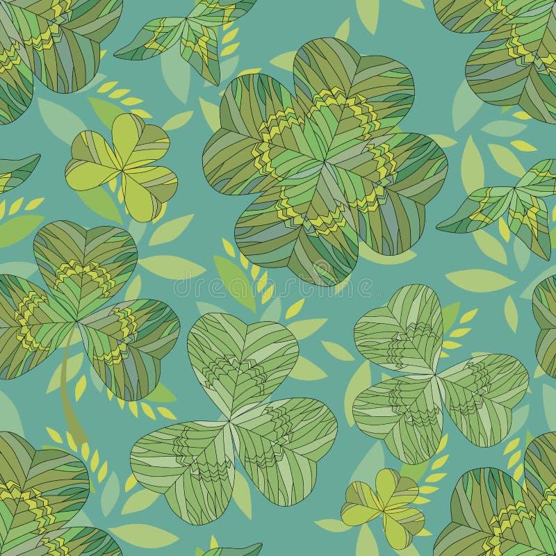 patricks för bakgrundsväxt av släkten Trifoliumdag mönsan den seamless st-tegelplattan seamless modell vektor illustrationer