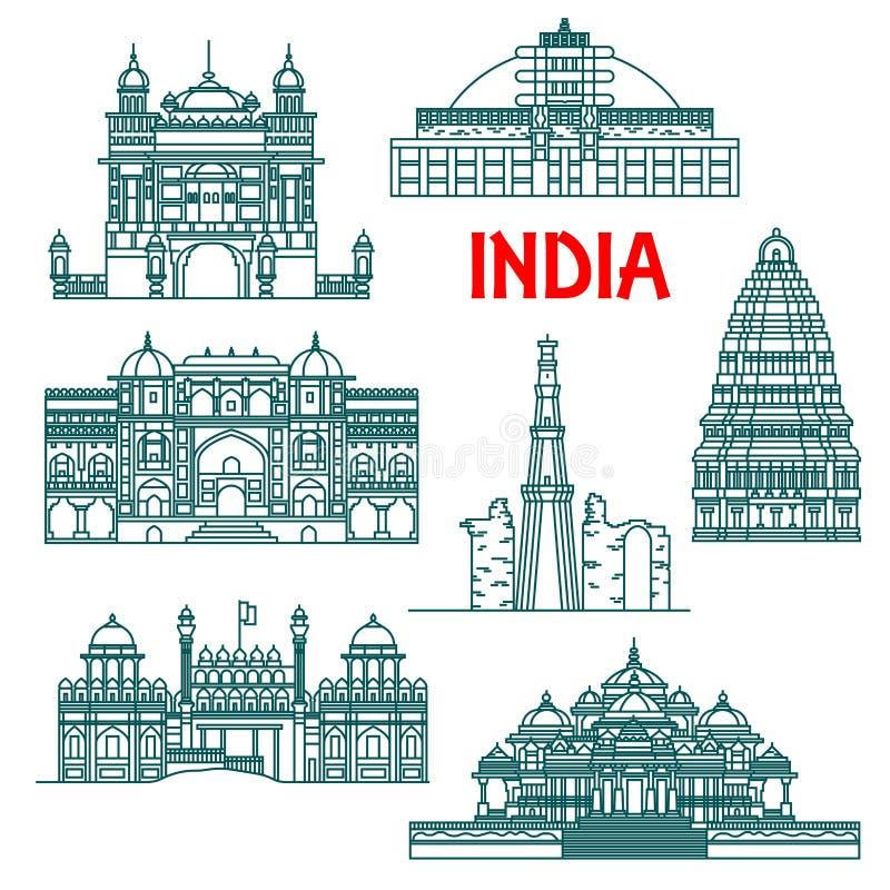Patrimoine architectural des icônes linéaires d'Inde illustration stock