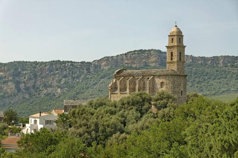Patrimonio, chiesa del XVI secolo di St Martins, Cap Corse, Corsica del Nord, Francia immagini stock