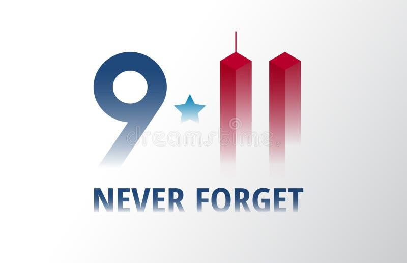 Patriot Dag 11 September affiche vectorillustratie 9/11 brief royalty-vrije illustratie