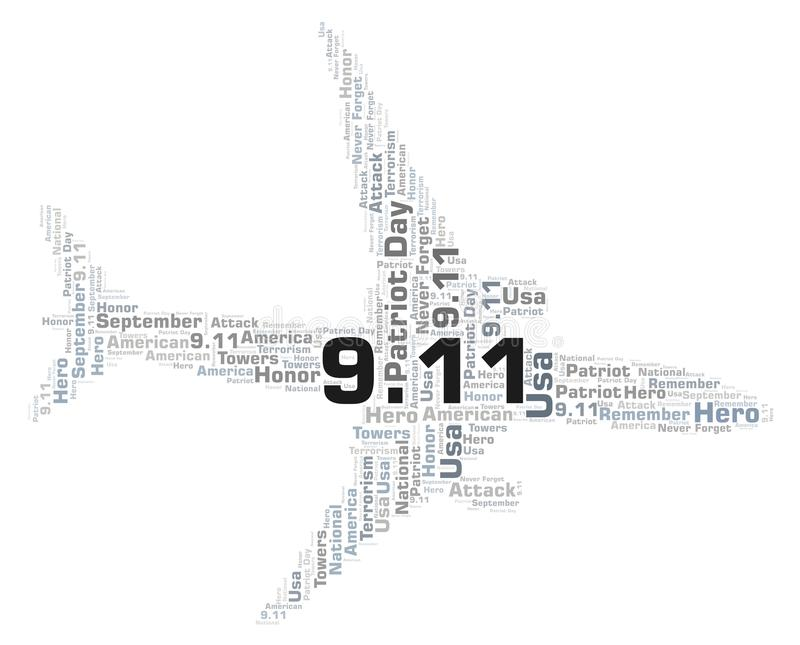 9.11 Patriot Day in a airplane shape word cloud. stock illustration
