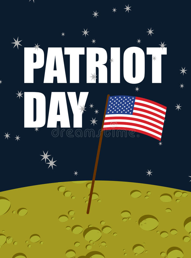 Patriot day. American flag on moon surface. Flag USA on yellow p. Lanet in space. American astronauts first landed on moon. Vector illustration for national vector illustration