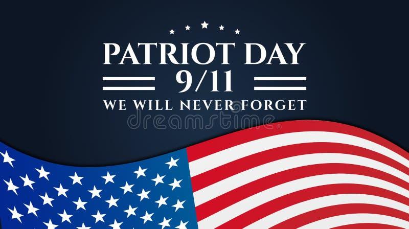 Patriot Day 9/11 Bakgrundsdesign vektor illustrationer