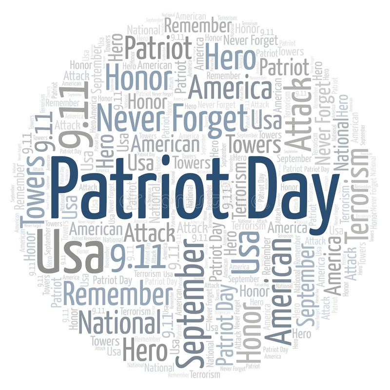 Patriot Day in a circle shape word cloud. royalty free illustration