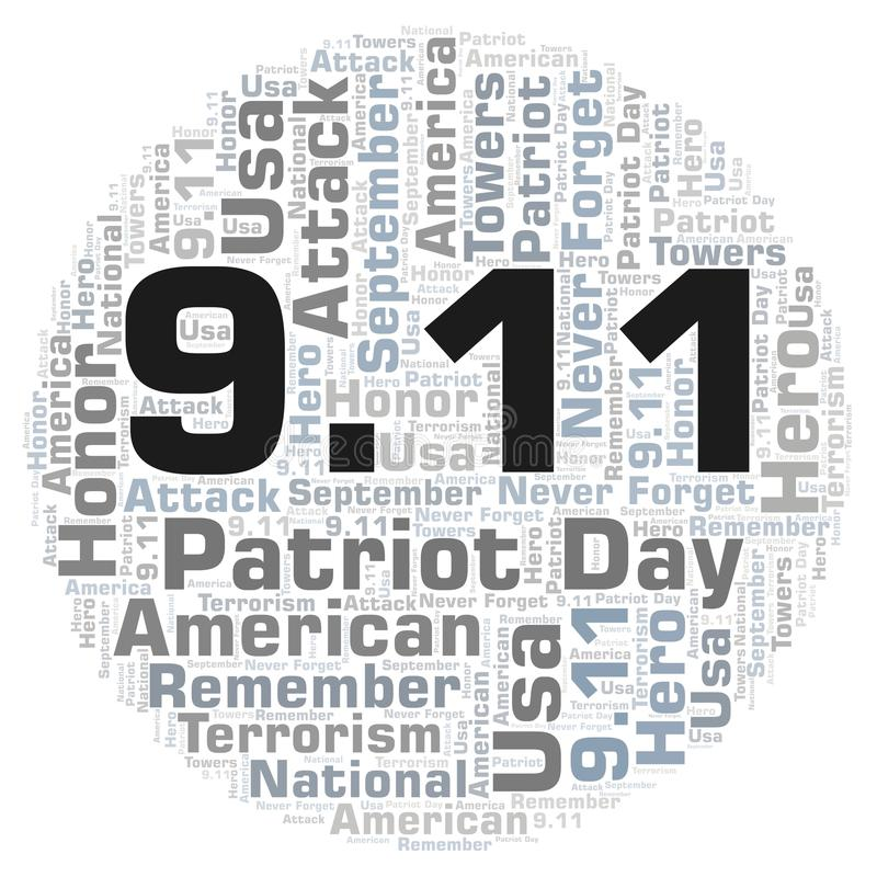 9.11 Patriot Day in a circle shape word cloud. vector illustration