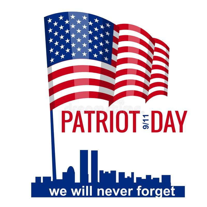 Patriot Day, Hand Hold American Flag. Patriot Day September 11, 2001. Design template, we will never forget, Vector. Patriot Day, American Flag. Patriot Day royalty free illustration
