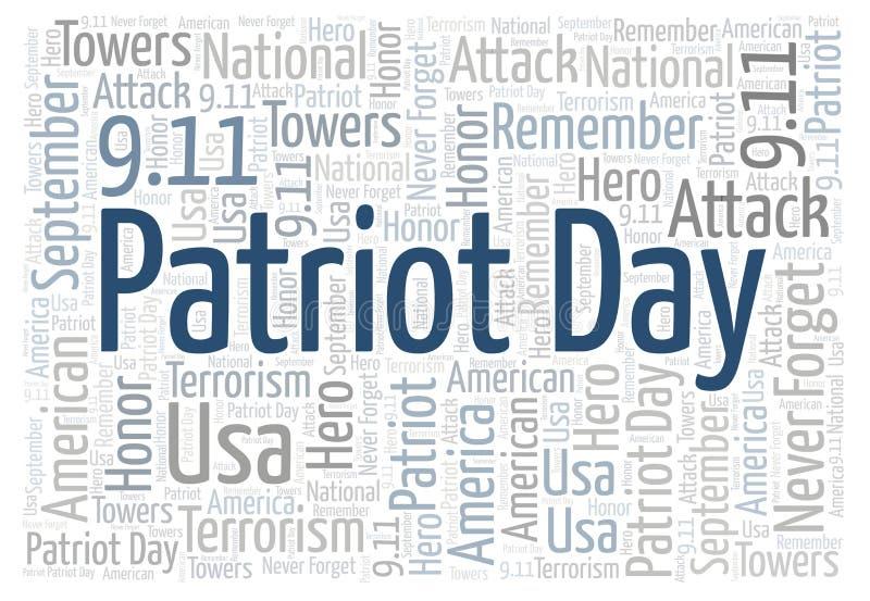 Patriot Day horizontal word cloud. royalty free illustration