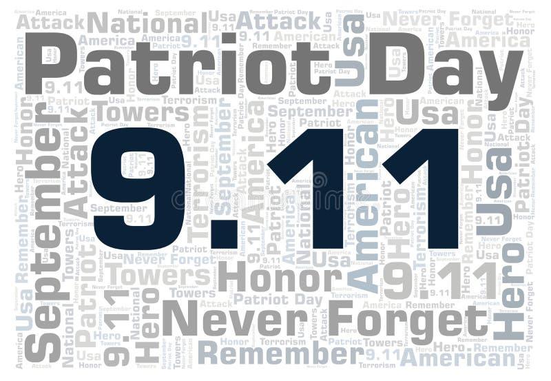 9.11 Patriot Day horizontal word cloud. royalty free illustration