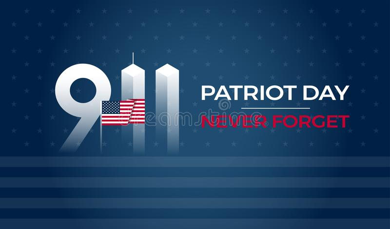 Patriot Day September 11 9/11 USA banner - United States flag, 911 memorial stock illustration