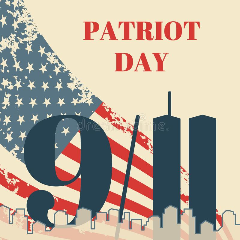 Patriot Day in USA square banner. Card with the American flag, the silhouette of the city and twin towers. Vector grunge royalty free illustration