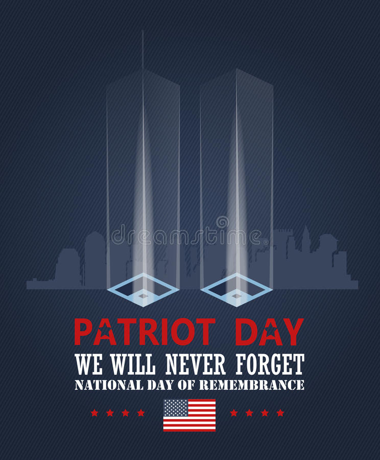Patriot day vector poster. Patriot day memorial. September 11. 9 / 11 with twin towers vector illustration