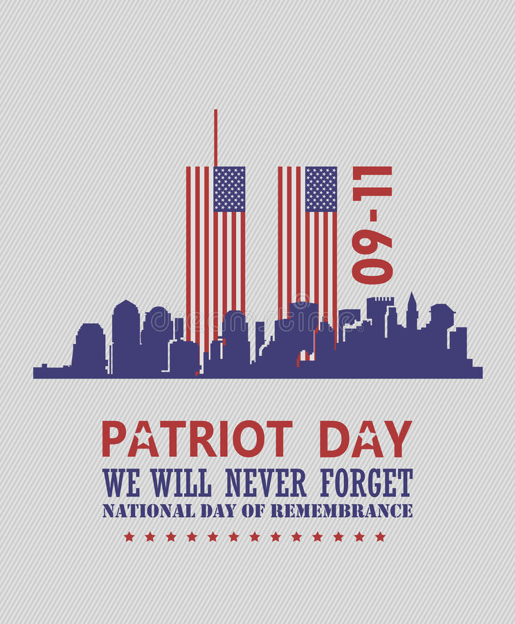 Free Patriot Day Vector Poster. USA Memorial. September 11. 9 / 11 With Twin Towers Royalty Free Stock Images - 98373469