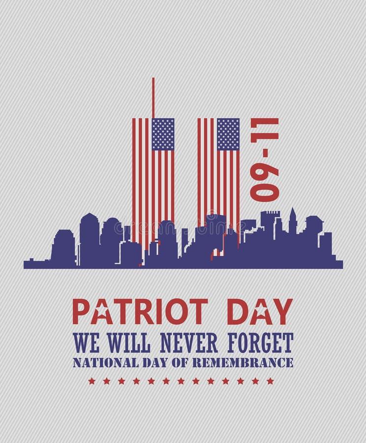 Patriot day vector poster. USA memorial. September 11. 9 / 11 with twin towers. Patriot day vector poster. USA memorial. September 11. 9 / 11 banner stock illustration