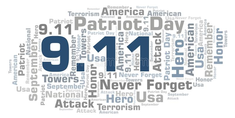 9.11 Patriot Day word cloud. royalty free illustration