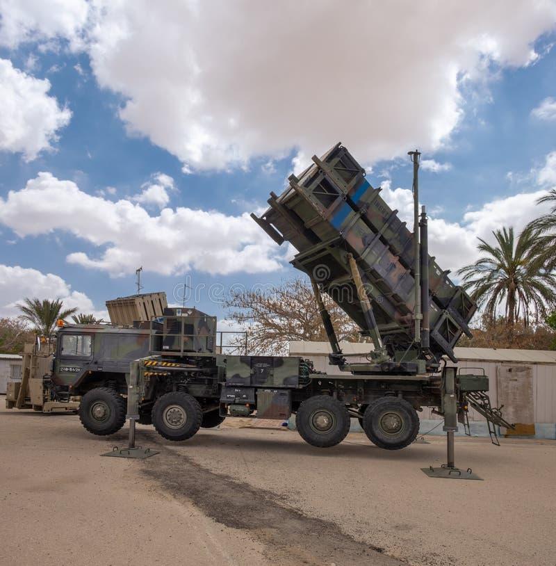 Patriot MIM-104, ett system för yt-luft- missil som (SAM) framläggas på militär show royaltyfri fotografi
