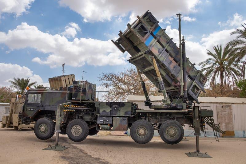 Patriot MIM-104, ett system för yt-luft- missil som (SAM) framläggas på militär show arkivbilder