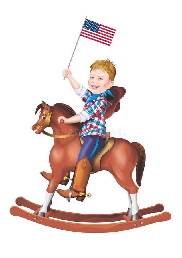 Patriot på den vagga hästen vektor illustrationer