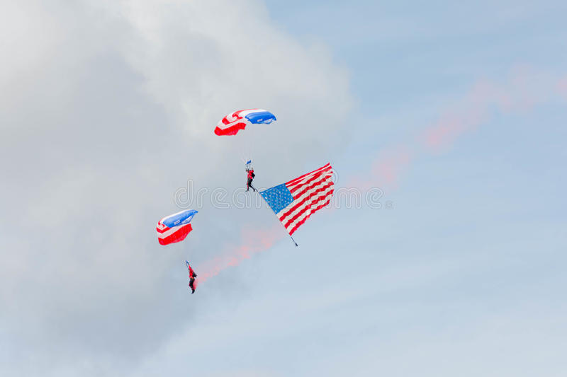 Patriot Parachute Team. Lancaster, USA - March 25, 2017: Patriot Parachute Team during Los Angeles County Air Show at the William J Fox Airfield royalty free stock photo
