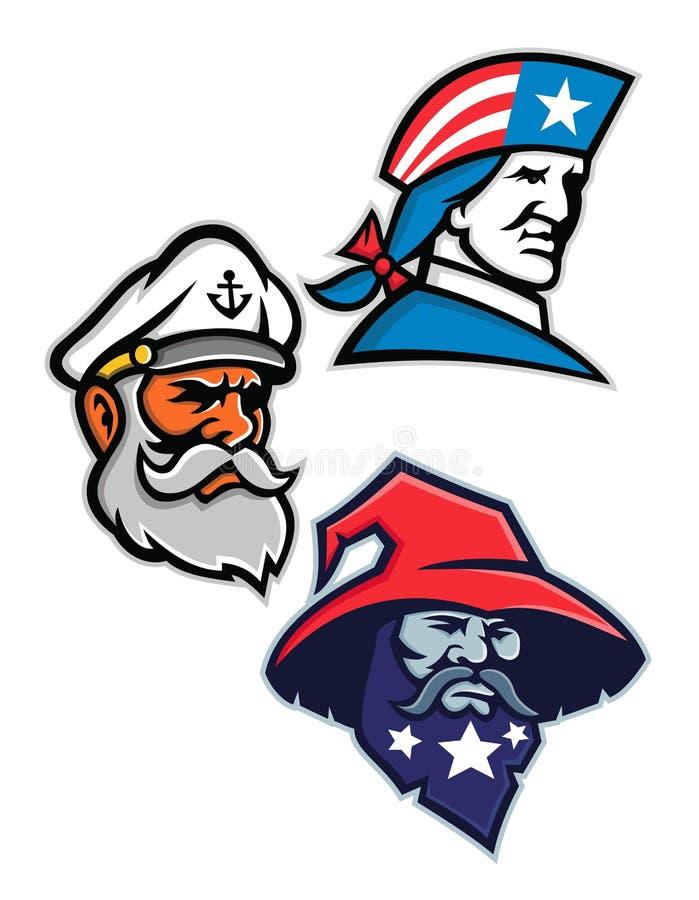 Patriot, Seadog och Warlockmaskotsamling vektor illustrationer