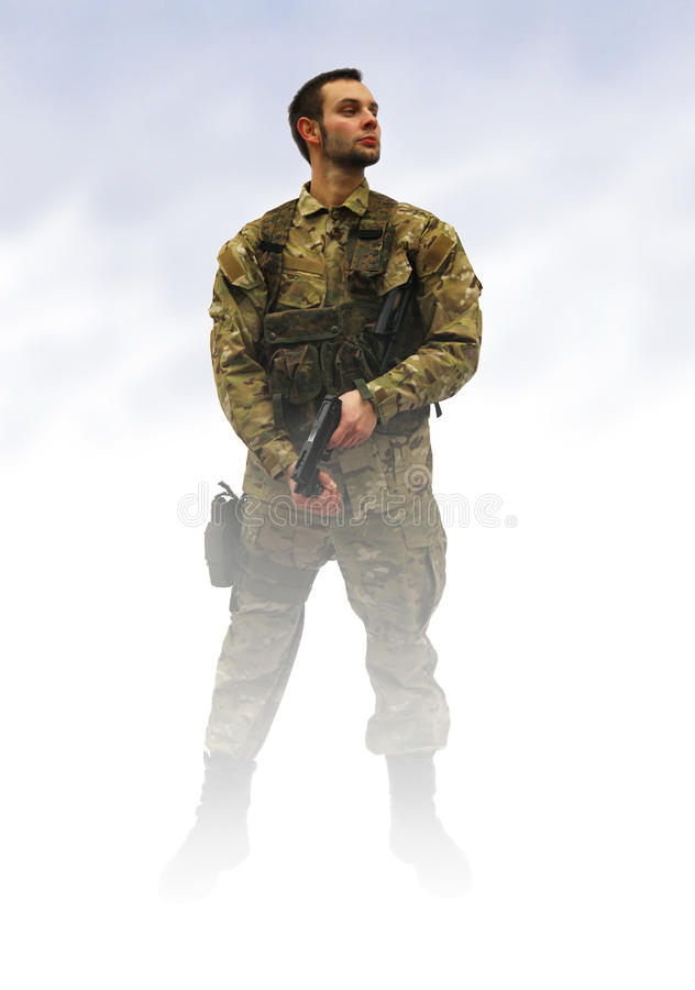 Download Patriot soldier in fog stock illustration. Image of person - 18912148