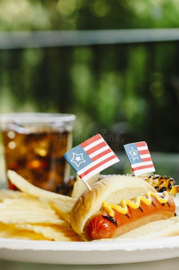 Patriot Themed Hotdogs stock image