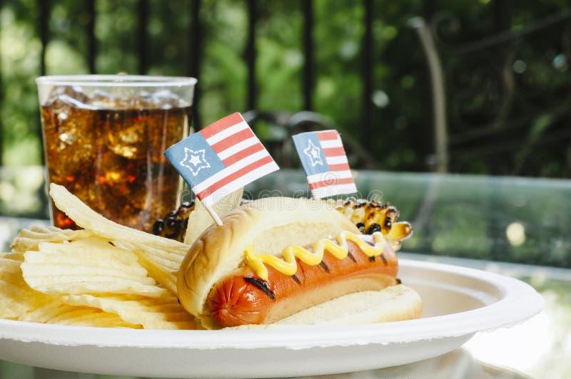 Patriot Themed Hotdogs stock photography