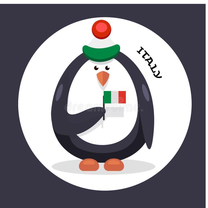 Patriota de la animadora del pingüino del país stock de ilustración